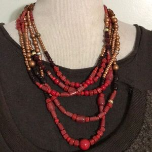 CHICO'S RED LAYERED NECKLACE